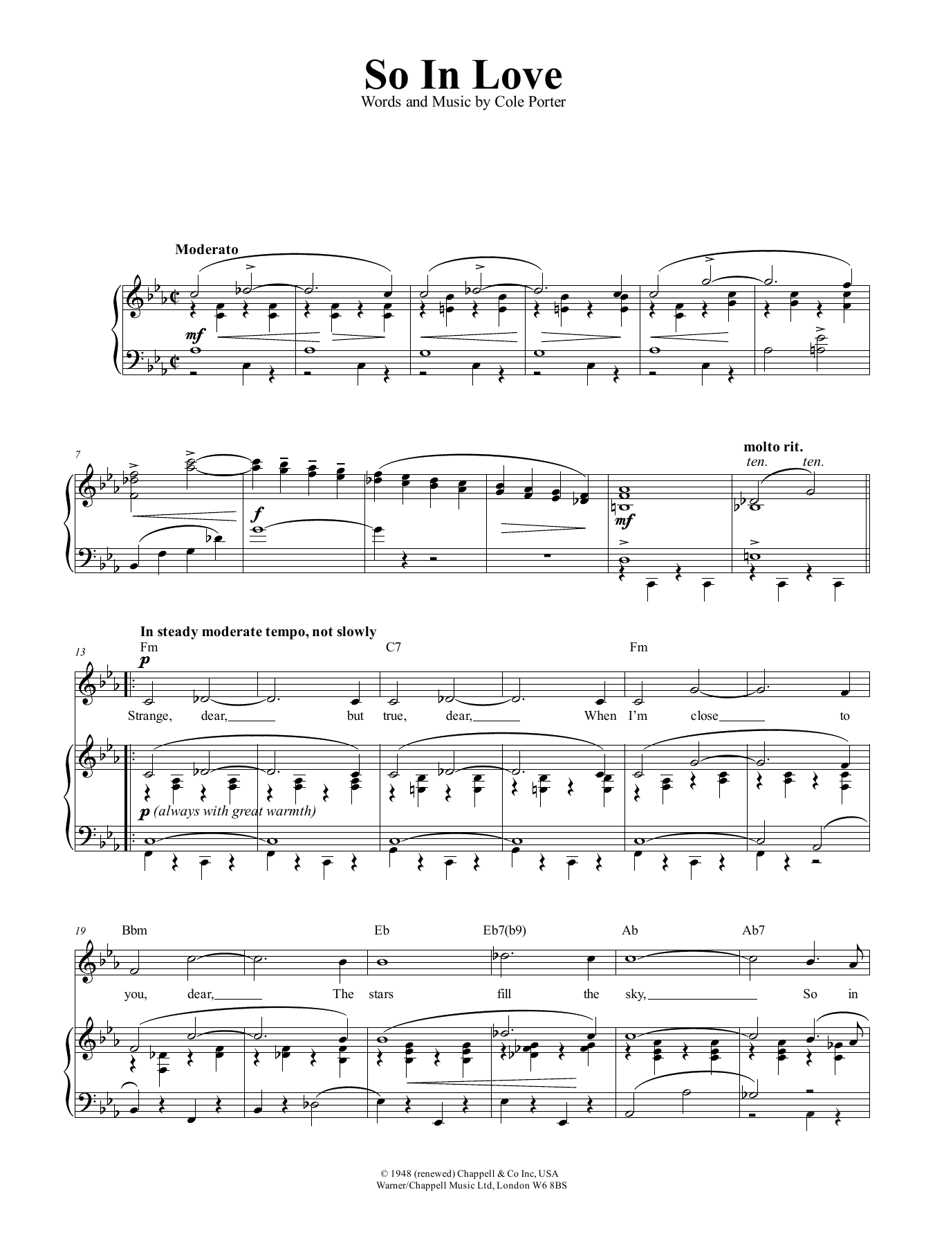 Cole Porter So In Love sheet music preview music notes and score for Piano, Vocal & Guitar (Right-Hand Melody) including 5 page(s)
