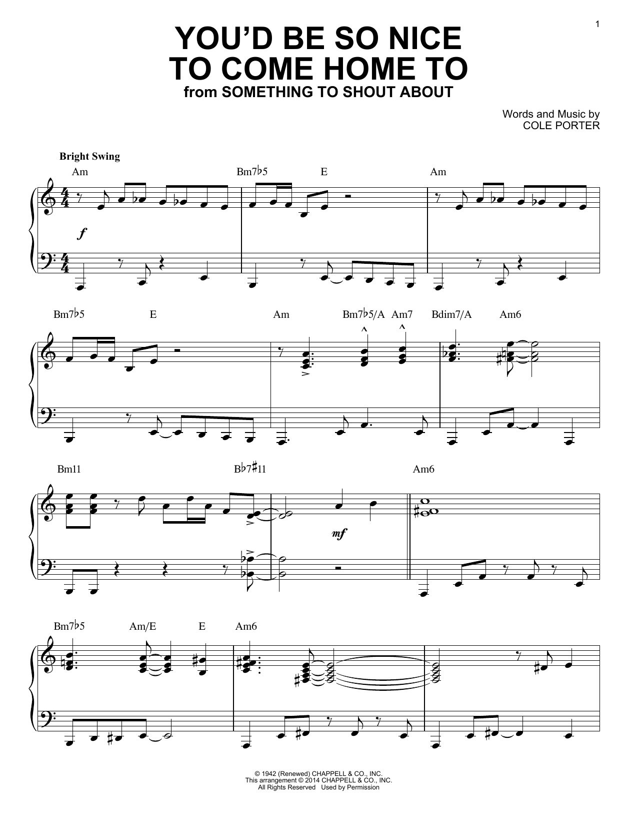 Download Cole Porter 'You'd Be So Nice To Come Home To' Digital Sheet Music Notes & Chords and start playing in minutes