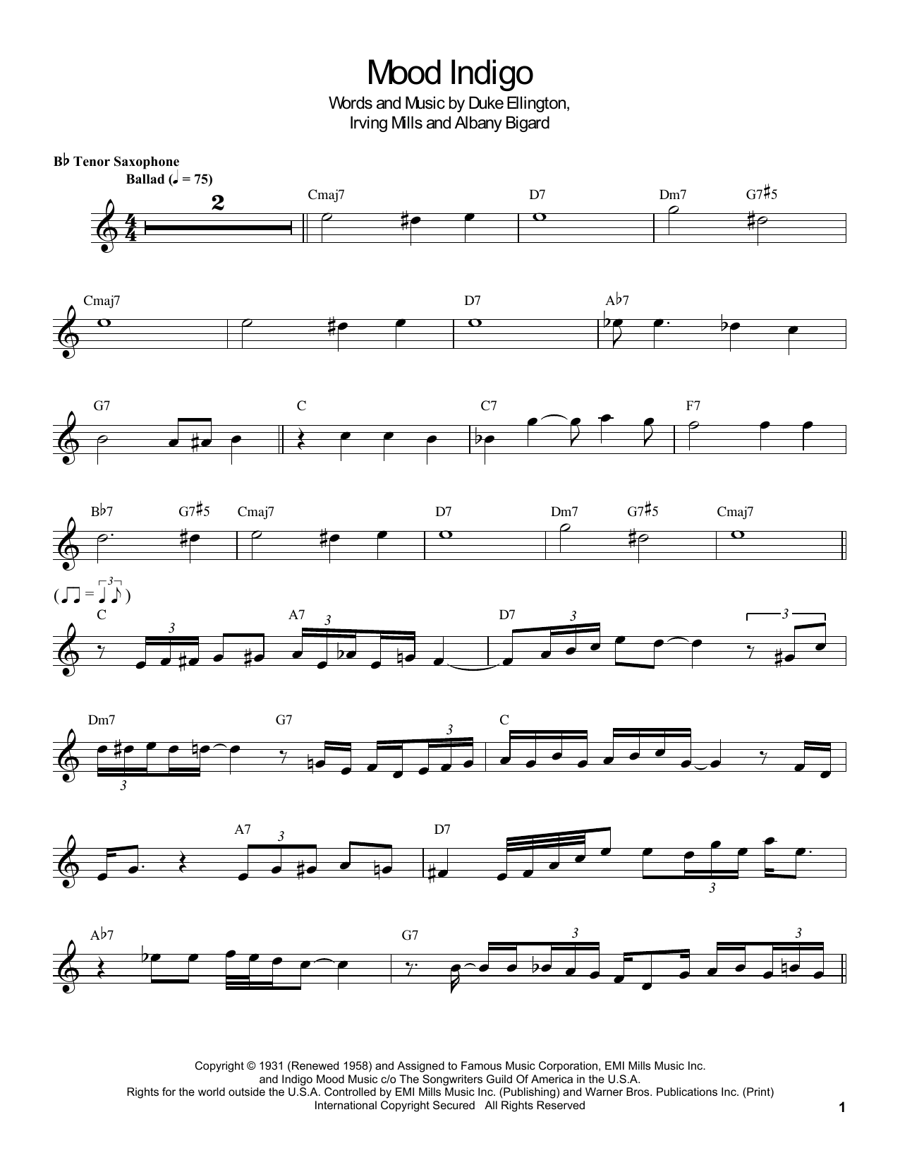 Download Coleman Hawkins 'Mood Indigo' Digital Sheet Music Notes & Chords and start playing in minutes