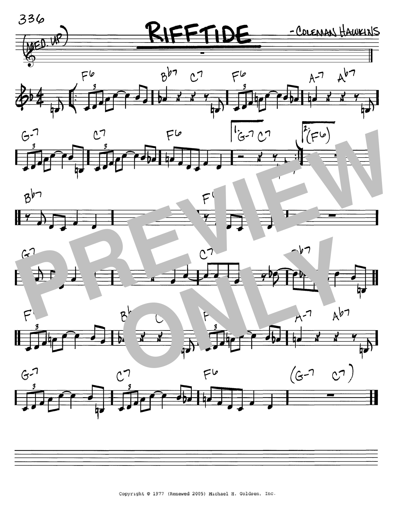 Download Coleman Hawkins 'Rifftide' Digital Sheet Music Notes & Chords and start playing in minutes