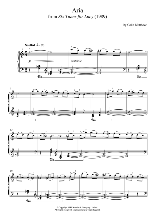 Download Colin Matthews 'Aria (From Six Tunes For Lucy)' Digital Sheet Music Notes & Chords and start playing in minutes