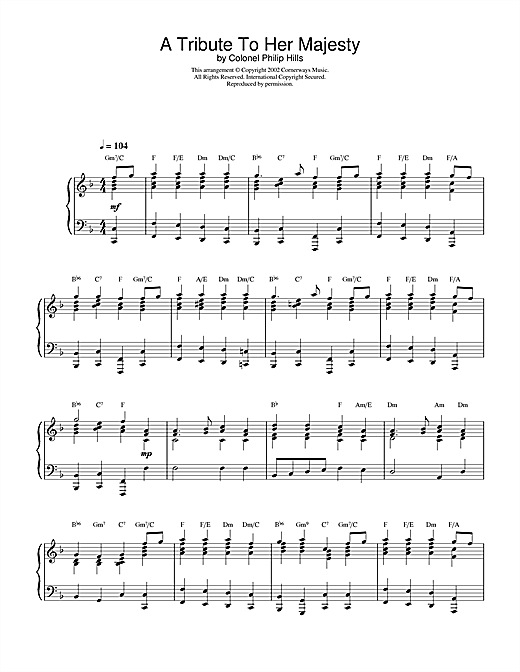 Download Colonel Philip Hills 'A Tribute To Her Majesty' Digital Sheet Music Notes & Chords and start playing in minutes