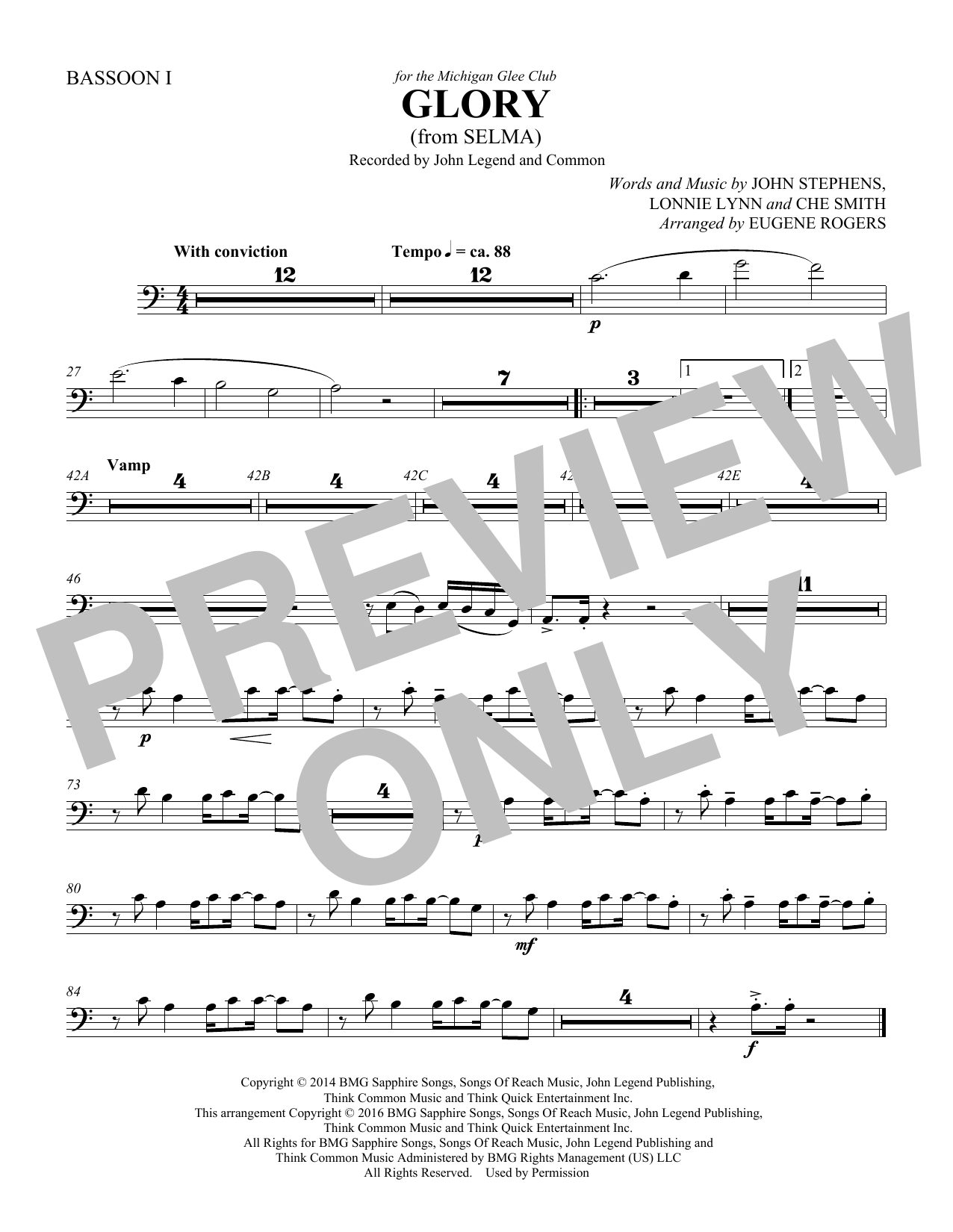 Common & John Legend Glory (from Selma) (arr. Eugene Rogers) - Bassoon 2 sheet music preview music notes and score for Choir Instrumental Pak including 1 page(s)