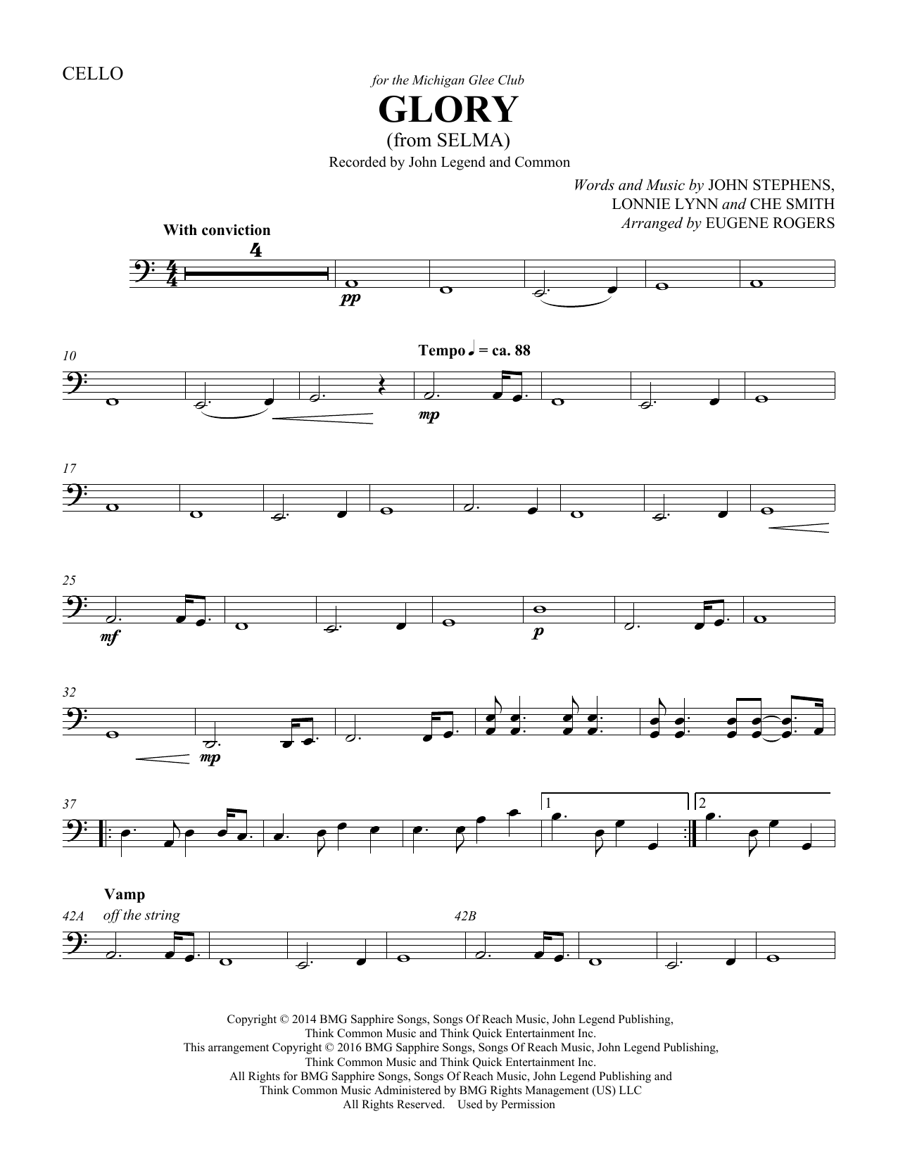 Common & John Legend Glory (from Selma) (arr. Eugene Rogers) - Cello sheet music preview music notes and score for Choir Instrumental Pak including 2 page(s)