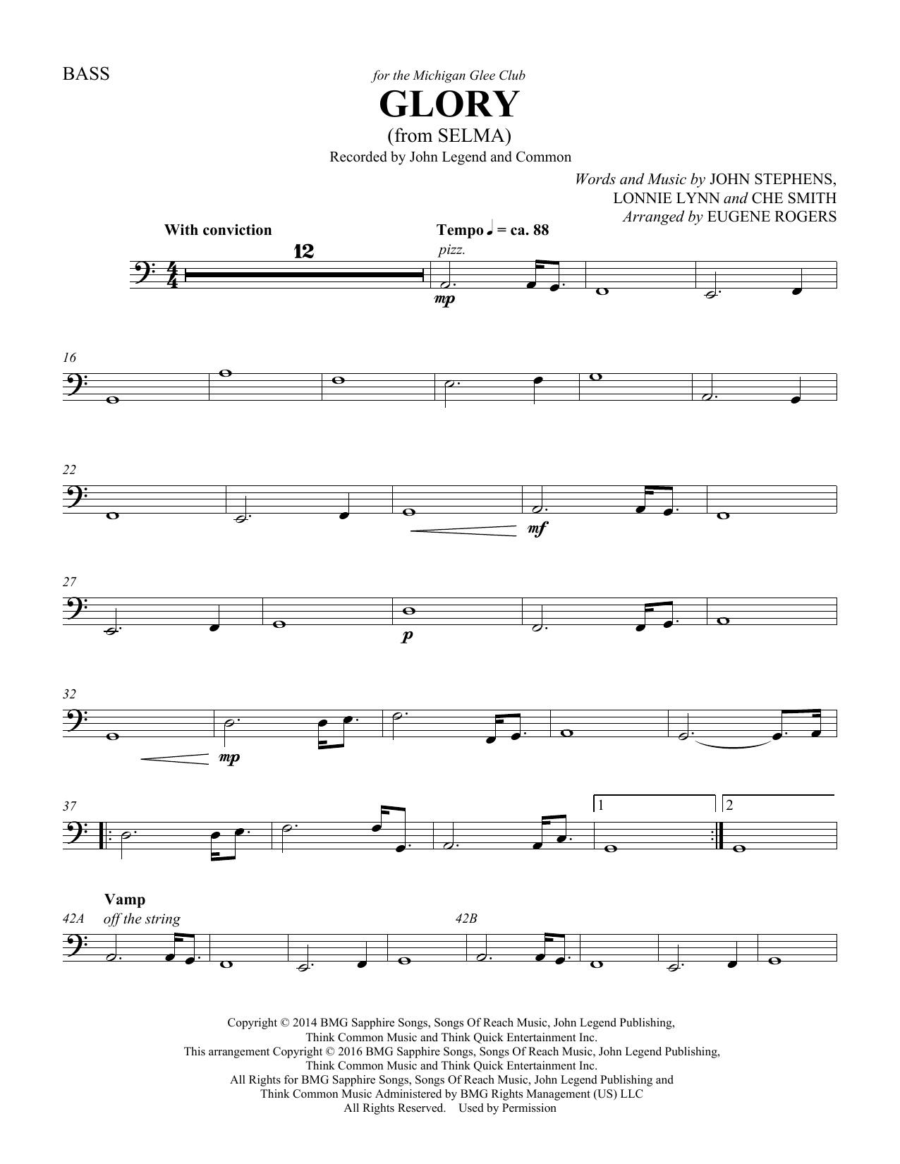 Common & John Legend Glory (from Selma) (arr. Eugene Rogers) - Double Bass sheet music preview music notes and score for Choir Instrumental Pak including 2 page(s)