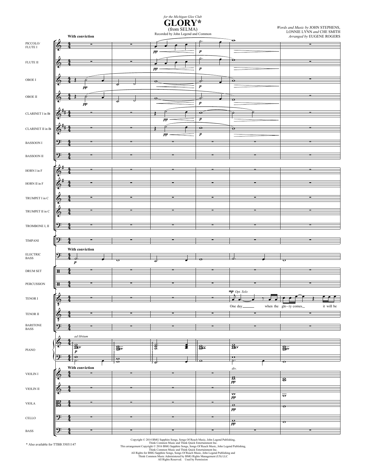 Common & John Legend Glory (from Selma) (arr. Eugene Rogers) - Flute/Piccolo sheet music preview music notes and score for Choir Instrumental Pak including 27 page(s)