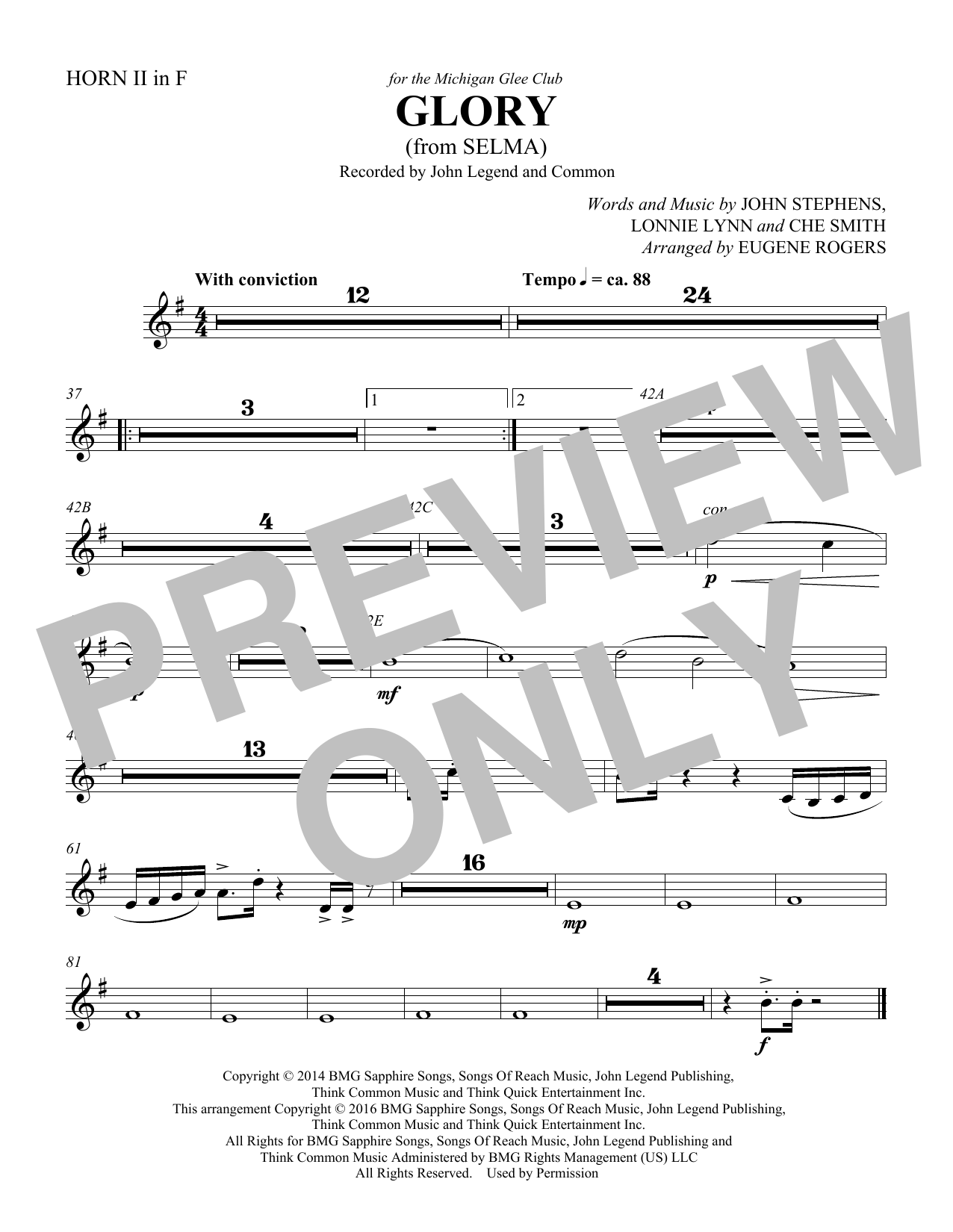Common & John Legend Glory (from Selma) (arr. Eugene Rogers) - Horn 2 in F sheet music preview music notes and score for Choir Instrumental Pak including 1 page(s)