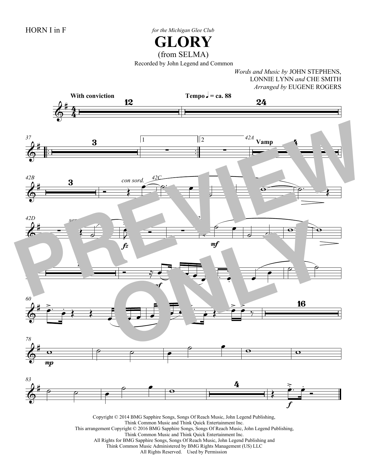 Common & John Legend Glory (from Selma) (arr. Eugene Rogers) - Score sheet music preview music notes and score for Choir Instrumental Pak including 1 page(s)