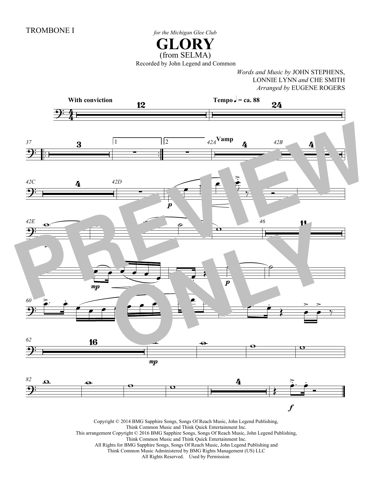 Common & John Legend Glory (from Selma) (arr. Eugene Rogers) - Trombone 1 sheet music preview music notes and score for Choir Instrumental Pak including 1 page(s)