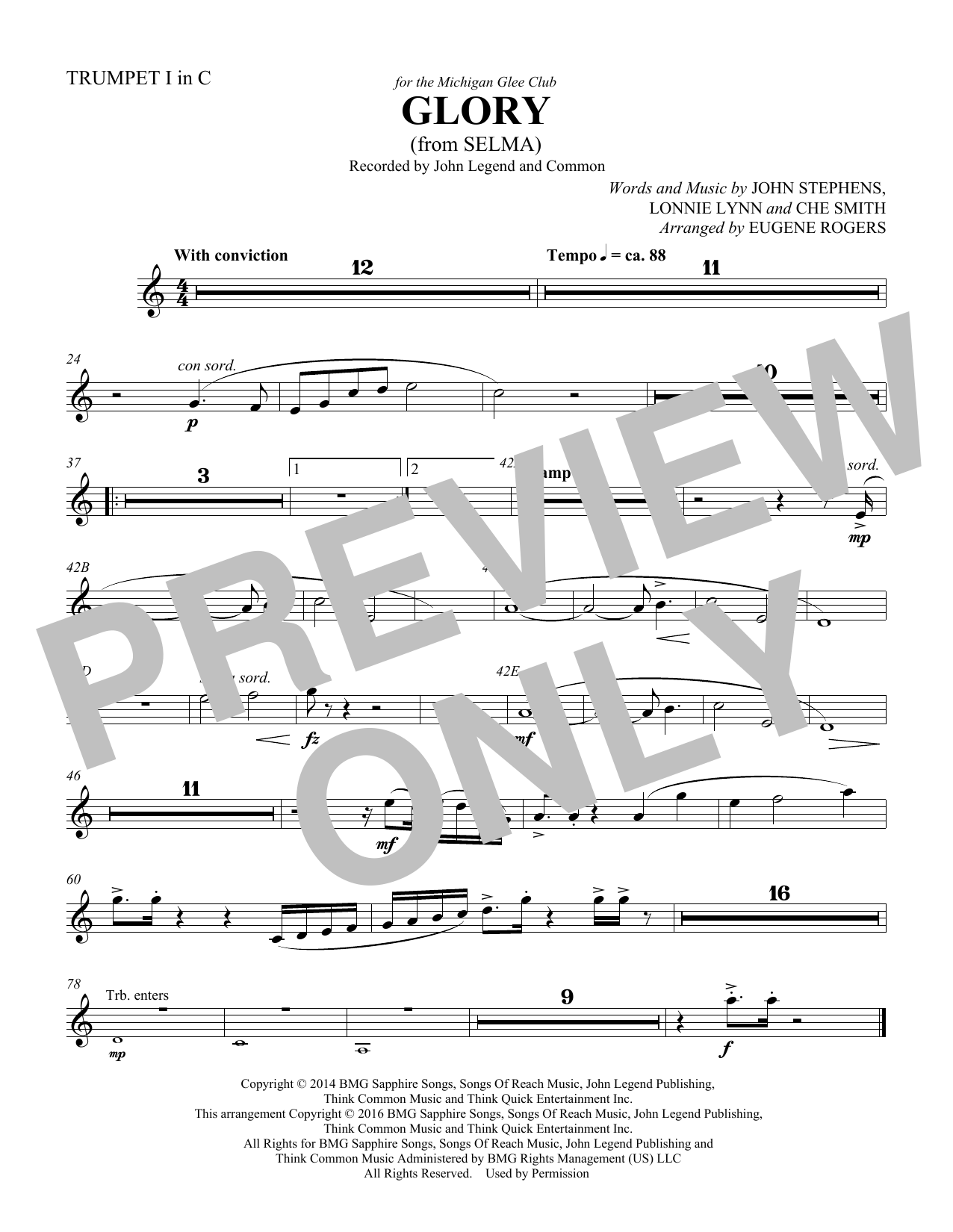 Common & John Legend Glory (from Selma) (arr. Eugene Rogers) - Trumpet 1 in C sheet music preview music notes and score for Choir Instrumental Pak including 1 page(s)