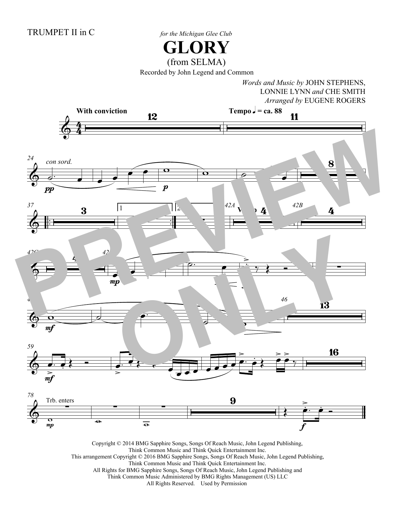 Common & John Legend Glory (from Selma) (arr. Eugene Rogers) - Trumpet 2 in C sheet music preview music notes and score for Choir Instrumental Pak including 1 page(s)