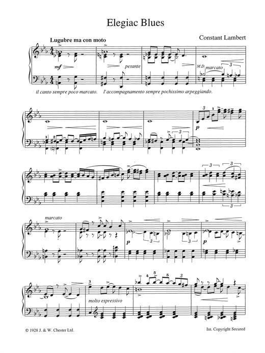 Constant Lambert Elegiac Blues sheet music notes and chords