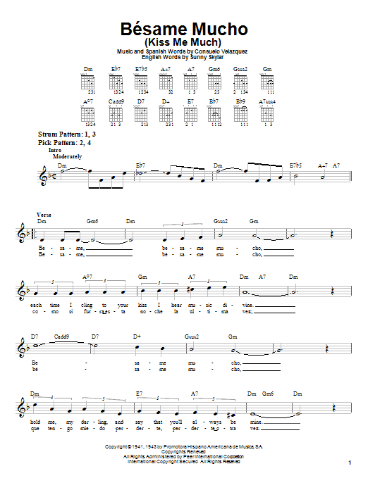 Consuelo Velazquez Besame Mucho (Kiss Me Much) sheet music preview music notes and score for Easy Guitar including 2 page(s)