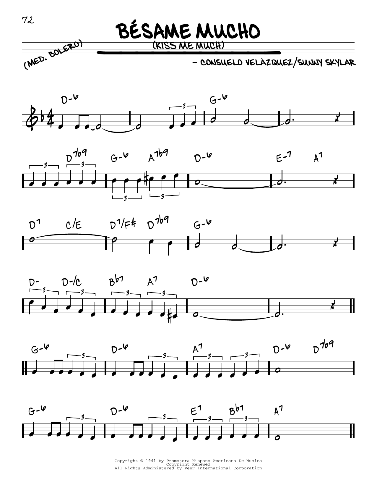 Consuelo Velazquez Besame Mucho (Kiss Me Much) sheet music preview music notes and score for Piano including 4 page(s)