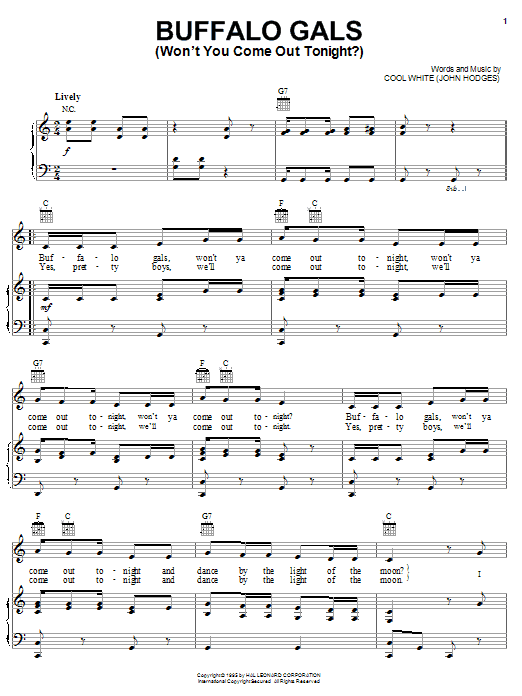 Cool White Buffalo Gals (Won't You Come Out Tonight?) sheet music preview music notes and score for Piano, Vocal & Guitar (Right-Hand Melody) including 2 page(s)