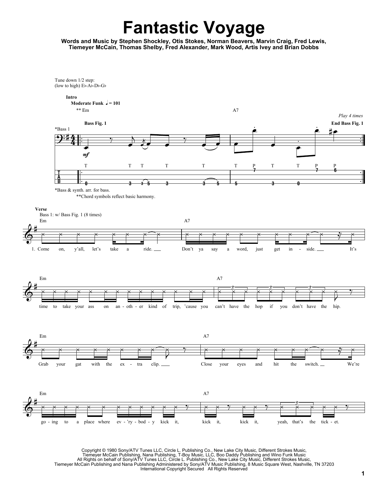 Download Coolio 'Fantastic Voyage' Digital Sheet Music Notes & Chords and start playing in minutes