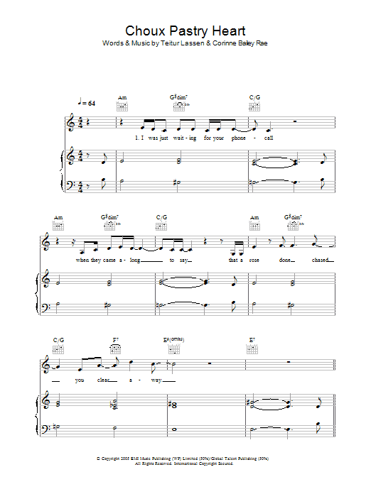 Corinne Bailey Rae Choux Pastry Heart sheet music preview music notes and score for Lyrics & Chords including 2 page(s)