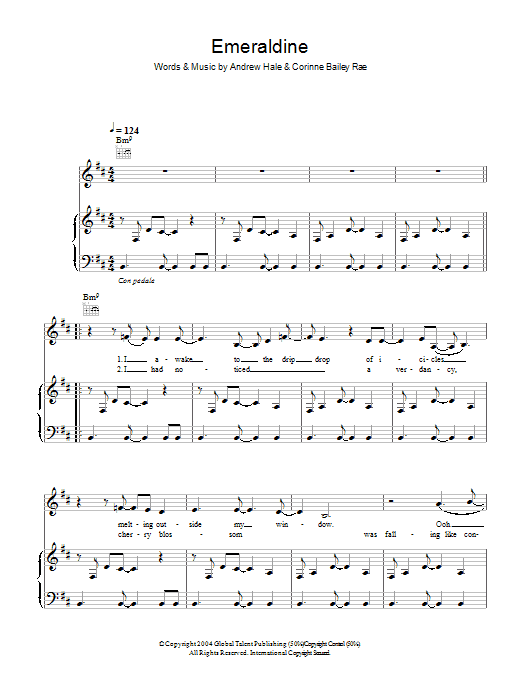 Corinne Bailey Rae Emeraldine sheet music preview music notes and score for Piano, Vocal & Guitar including 5 page(s)