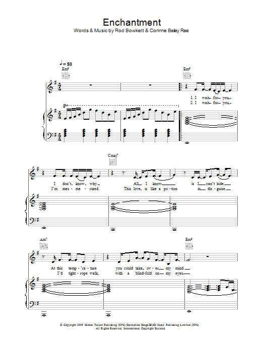 Corinne Bailey Rae Enchantment sheet music preview music notes and score for Lyrics & Chords including 2 page(s)