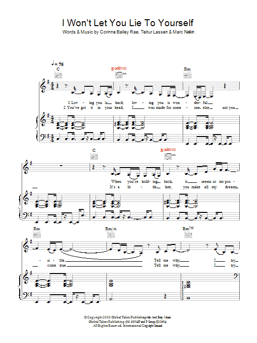 Corinne Bailey Rae I Won't Let You Lie To Yourself sheet music preview music notes and score for Lyrics & Chords including 2 page(s)