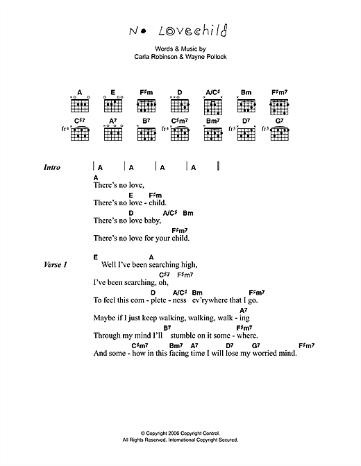 Corinne Bailey Rae No Love Child sheet music preview music notes and score for Lyrics & Chords including 2 page(s)