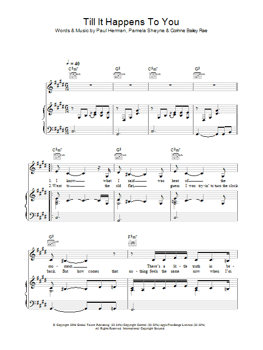 Corinne Bailey Rae Till It Happens To You sheet music preview music notes and score for Easy Piano including 4 page(s)