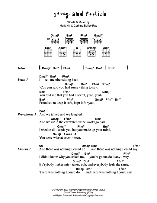 Corinne Bailey Rae Young And Foolish sheet music preview music notes and score for Lyrics & Chords including 2 page(s)