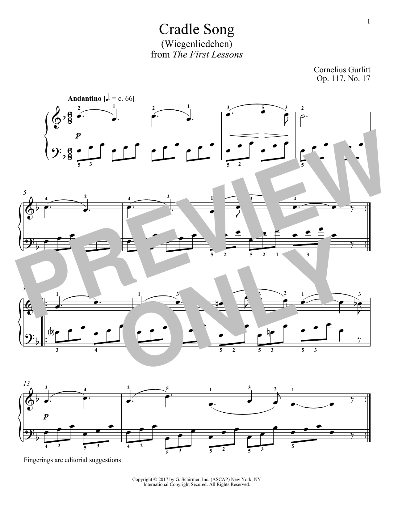 Download Cornelius Gurlitt 'Cradle Song (Wiegenliedchen), Op. 117, No. 17' Digital Sheet Music Notes & Chords and start playing in minutes