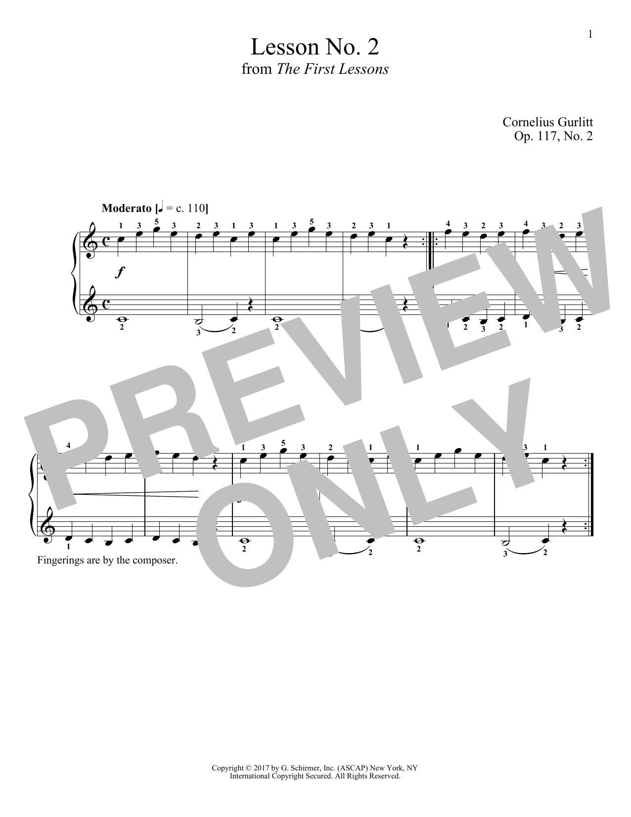 Cornelius Gurlitt Moderato, Op. 117, No. 2 sheet music notes and chords