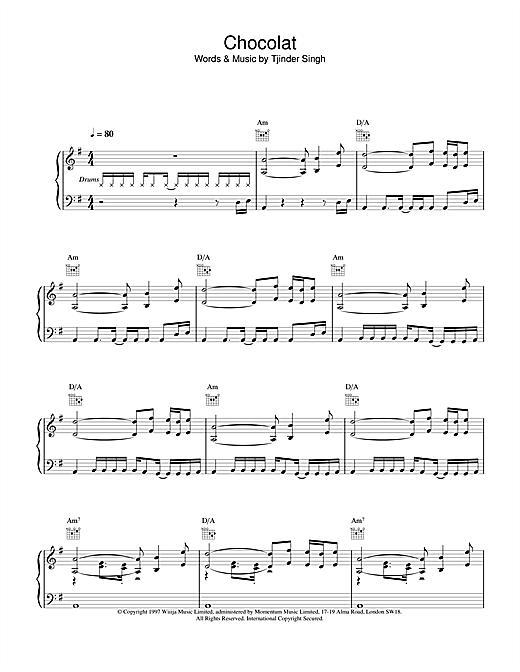 Cornershop Chocolat sheet music notes and chords