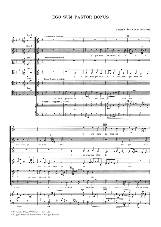 Download Costanzo Porta 'Ego Sum Pastor Bonus' Digital Sheet Music Notes & Chords and start playing in minutes