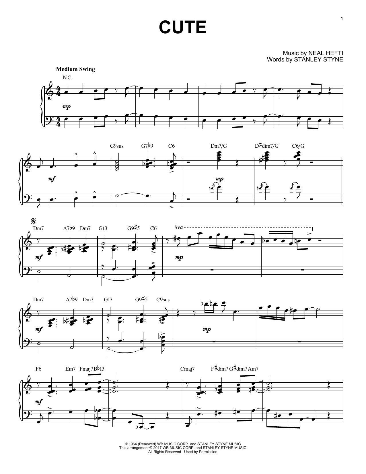 Download Count Basie 'Cute' Digital Sheet Music Notes & Chords and start playing in minutes