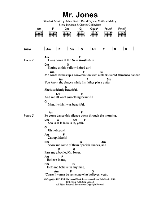 Counting Crows Mr. Jones sheet music notes and chords