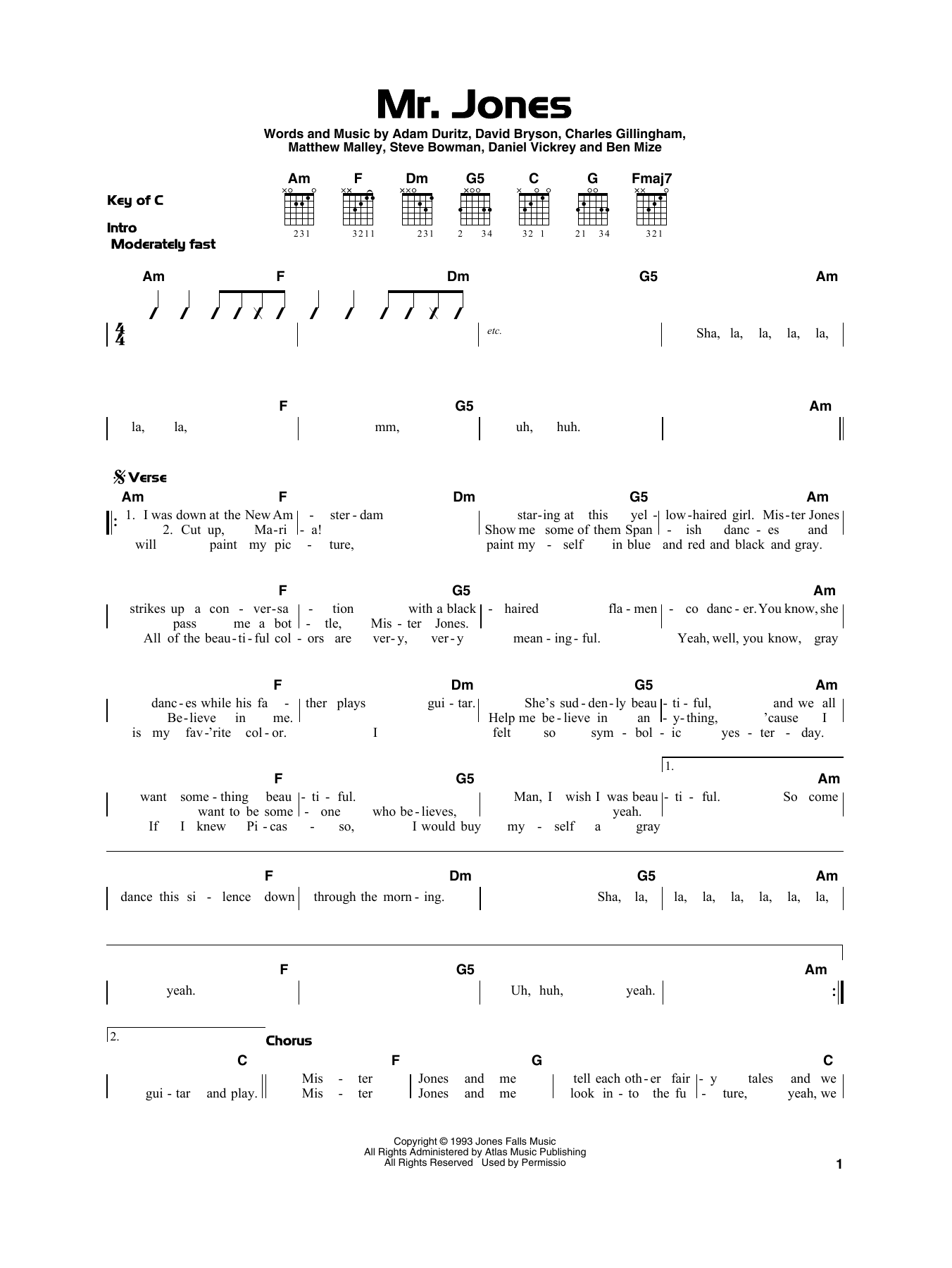 Counting Crows Mr. Jones sheet music preview music notes and score for Piano, Vocal & Guitar (Right-Hand Melody) including 10 page(s)