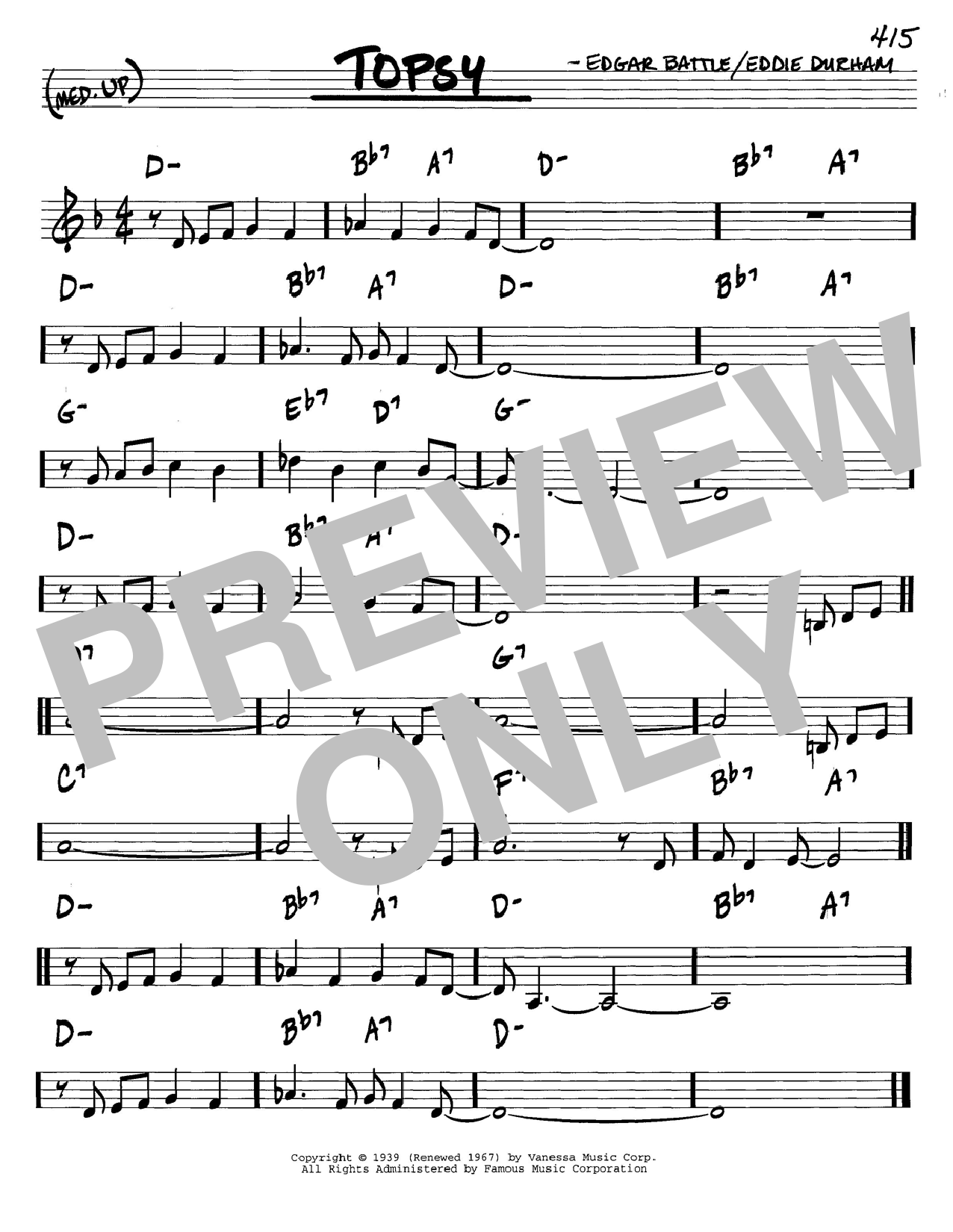 Download Cozy Cole 'Topsy' Digital Sheet Music Notes & Chords and start playing in minutes