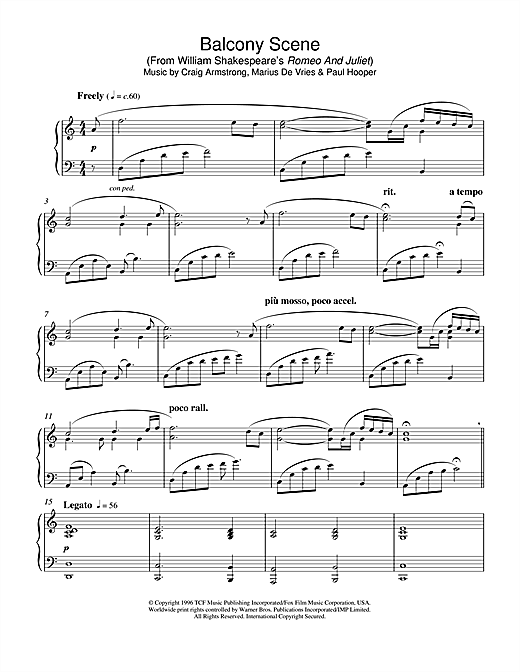 Download Craig Armstrong 'Balcony Scene (from Romeo And Juliet)' Digital Sheet Music Notes & Chords and start playing in minutes
