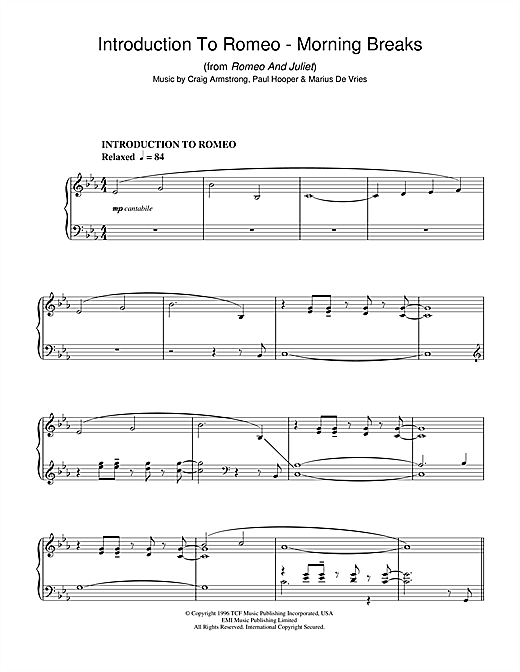 Download Craig Armstrong 'Introduction To Romeo - Morning Breaks (from Romeo And Juliet)' Digital Sheet Music Notes & Chords and start playing in minutes