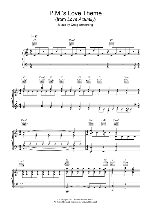 Craig Armstrong P.M.'s Love Theme (from Love Actually) sheet music notes and chords
