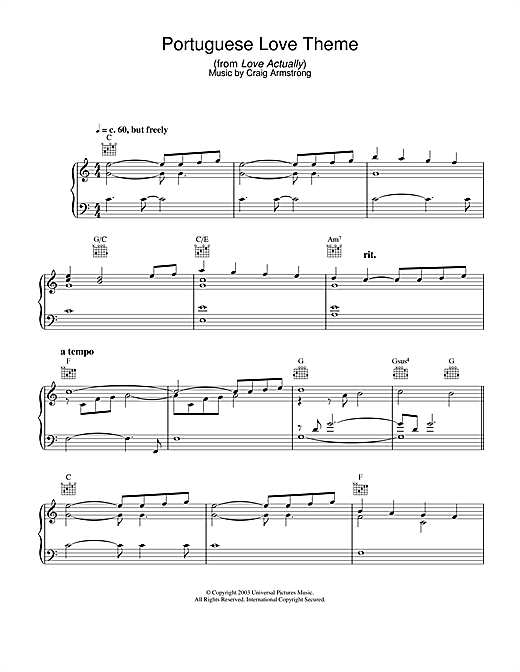 Download Craig Armstrong 'Portuguese Love Theme (from Love Actually)' Digital Sheet Music Notes & Chords and start playing in minutes