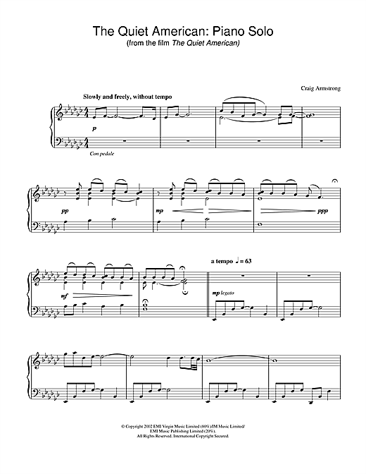 Craig Armstrong The Quiet American - Piano Solo (from The Quiet American) sheet music notes and chords