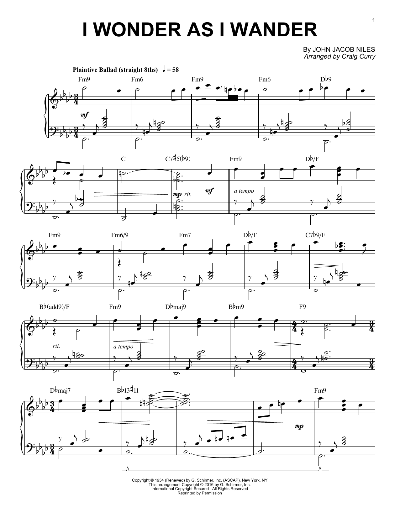 Download Craig Curry 'I Wonder As I Wander' Digital Sheet Music Notes & Chords and start playing in minutes