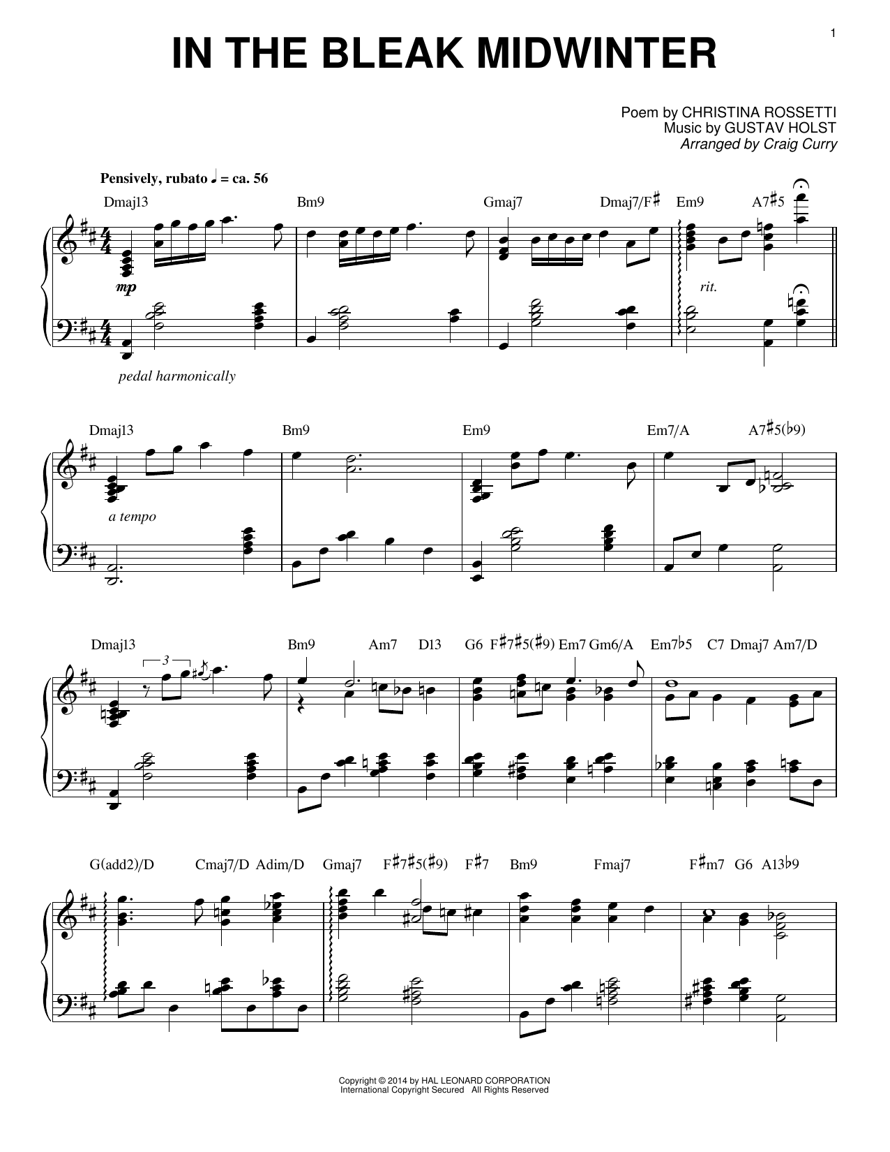 Download Craig Curry 'In The Bleak Midwinter' Digital Sheet Music Notes & Chords and start playing in minutes