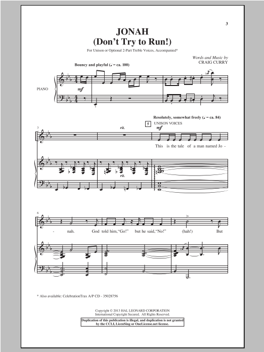 Download Craig Curry 'Jonah (Don't Try To Run!)' Digital Sheet Music Notes & Chords and start playing in minutes