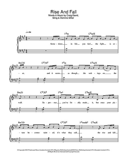 Craig David Rise & Fall sheet music notes and chords