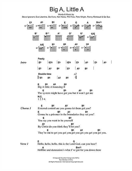 Crass Big A Little A sheet music preview music notes and score for Lyrics & Chords including 4 page(s)