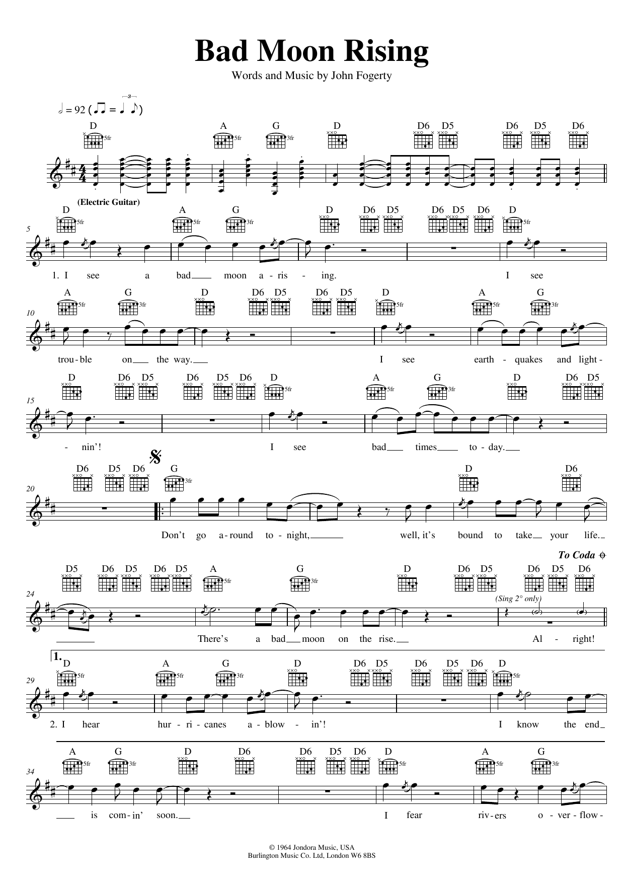 Creedence Clearwater Revival Bad Moon Rising sheet music preview music notes and score for Guitar Tab including 7 page(s)
