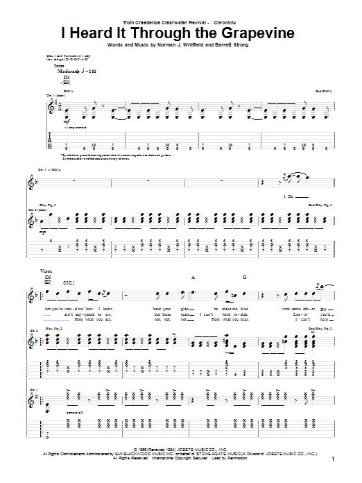 Download Creedence Clearwater Revival 'I Heard It Through The Grapevine' Digital Sheet Music Notes & Chords and start playing in minutes