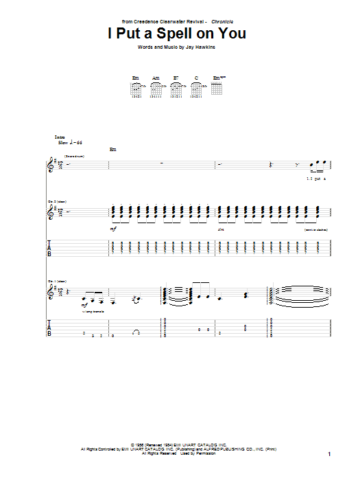 Creedence Clearwater Revival I Put A Spell On You sheet music preview music notes and score for Piano, Vocal & Guitar (Right-Hand Melody) including 4 page(s)