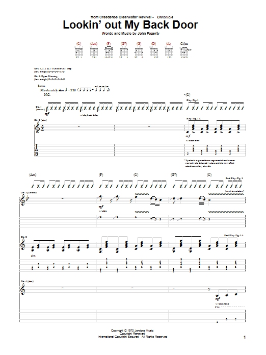 Creedence Clearwater Revival Lookin' Out My Back Door sheet music preview music notes and score for Guitar Tab including 14 page(s)