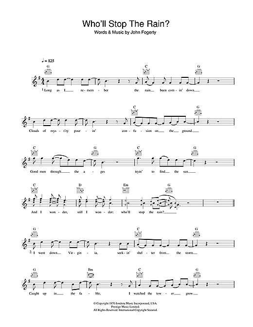 Creedence Clearwater Revival Who'll Stop The Rain sheet music preview music notes and score for Guitar Tab including 7 page(s)